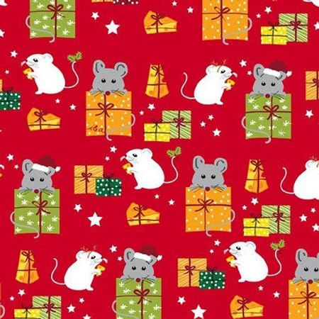 Fat Quarter - Meowy Christmas - Mice & Gifts - Red