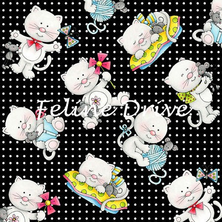 Fat Quarter - Miss Kitty's Colors - Tossed Kittens - Black