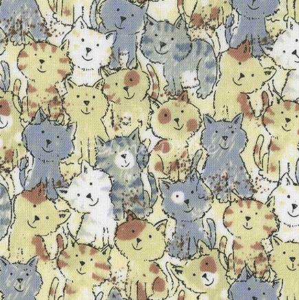 Fat Quarter - Packed Cats - Neutral
