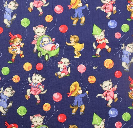 End of Bolt Piece - Pam Kitty Picnic - Kittens & Balloons - Navy - 6""