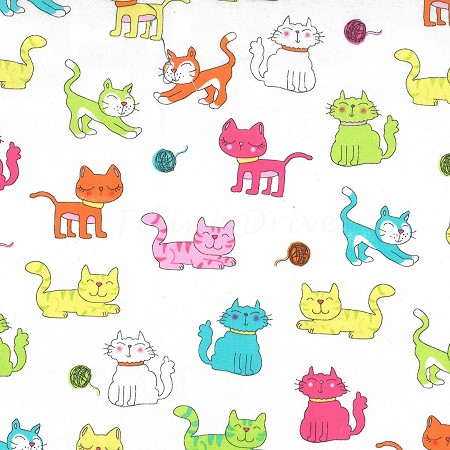 Fat Quarter - Paw Prints for ASPCA - Cat Time - White