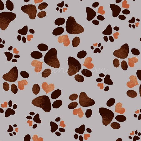 Fat Quarter - Paw Prints - Light Grey