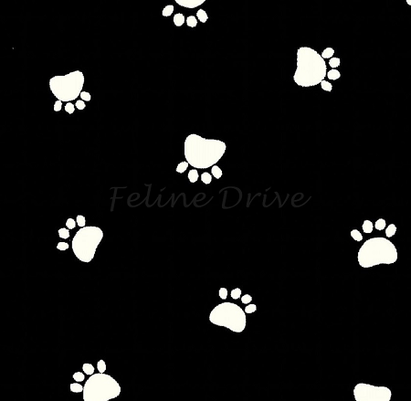 Fat Quarter - Paw Prints - Spaced Paws on Black