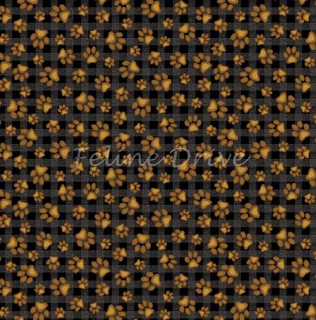 Fat Quarter - Paw Prints - Honey on Black