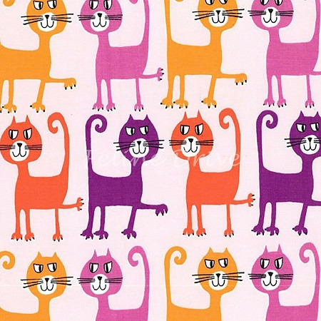 Fat Quarter - Pets A Plenty - Cats - Coral