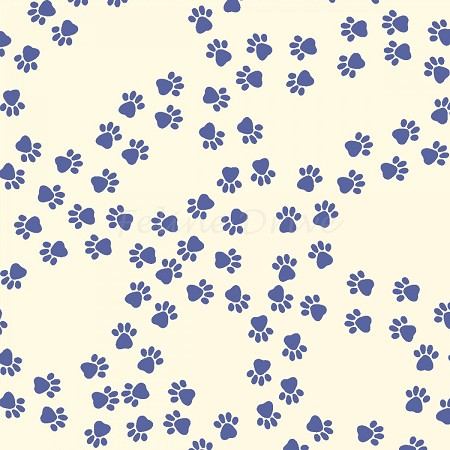 Paw Print Trails - Navy Paws on Cream