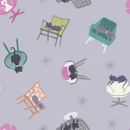Fat Quarter - Poodle & Doodle - Cats in Chairs - Warm Lilac