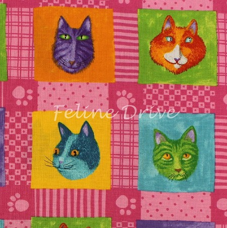 Fat Quarter - Prisma Cats - Cat Blocks - Pink
