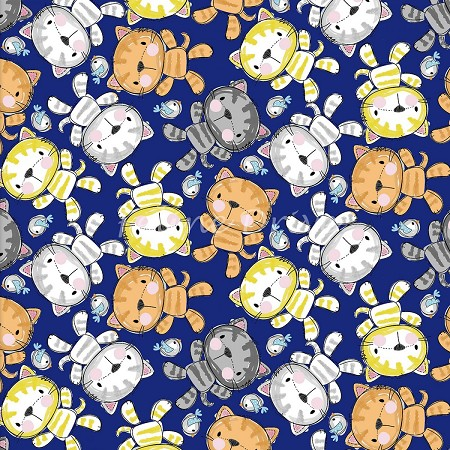 Fat Quarter - Purrfect Pals - Cat Toss - Navy