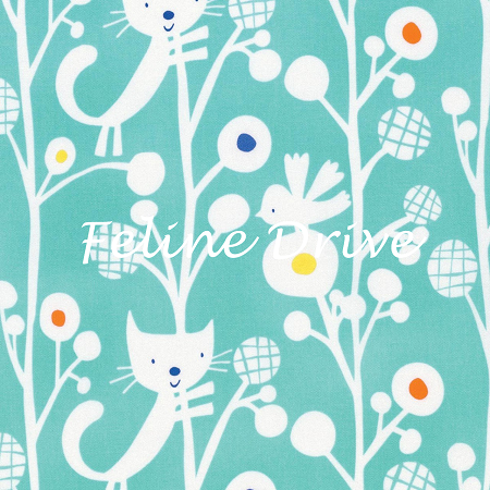 Fat Quarter - Raining Cats & Dogs - Up A Tree - Aqua