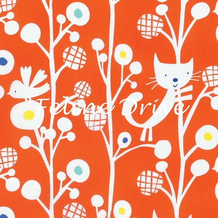 Fat Quarter - Raining Cats & Dogs - Up A Tree - Orange