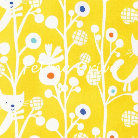 Fat Quarter - Raining Cats & Dogs - Up A Tree - Yellow