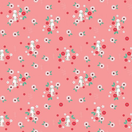 Fat Quarter - Rose Lane - Cats - Dark Pink