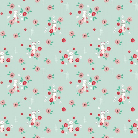 Fat Quarter - Rose Lane - Cats - Mint