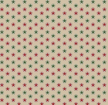 Fat Quarter - Santa's Stash - Stars - Tan