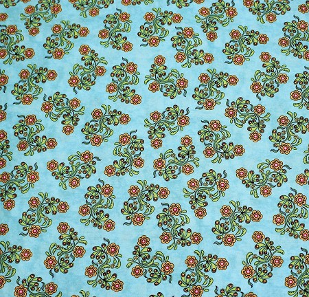 Fat Quarter - Sew Catty - Floral - Turquoise