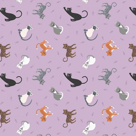 Fat Quarter - Small Things Pets - Cats - Lilac