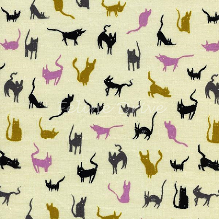 Fat Quarter - Spellbound - Moon Cat - Ivory