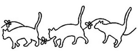 "Quilting Stencil - Cats at Play - Small (5"")"
