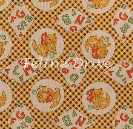 Fat Quarter - Storybook 9 - ABC Cats - Yellow