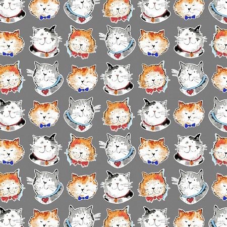 Fat Quarter - Take Me Home - Cat Heads - Grey