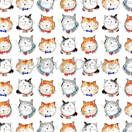 Fat Quarter - Take Me Home - Cat Heads - White