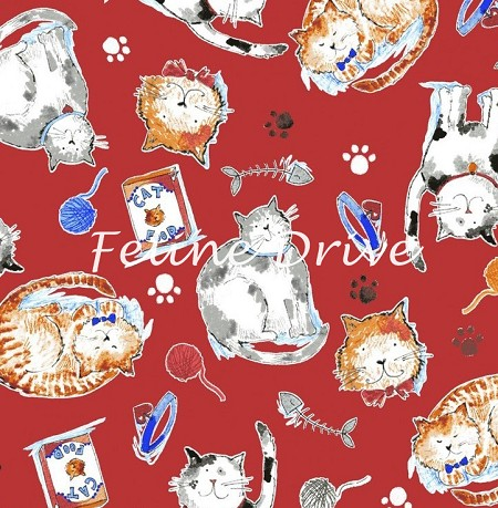 Fat Quarter - Take Me Home - Cat Toss - Red