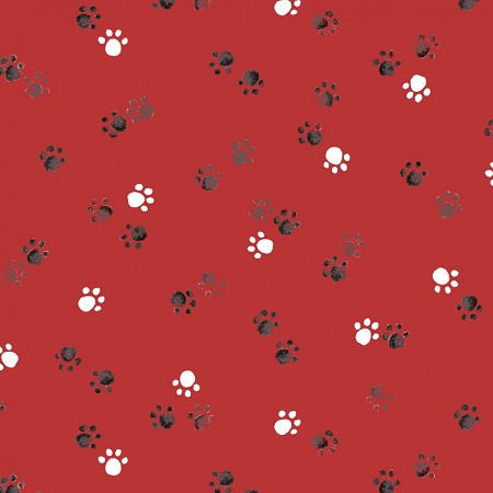 End of Bolt Piece - Take Me Home - Paw Prints - Red - 21.5""