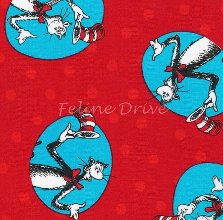 Fat Quarter - The Cat in the Hat 3 - Red