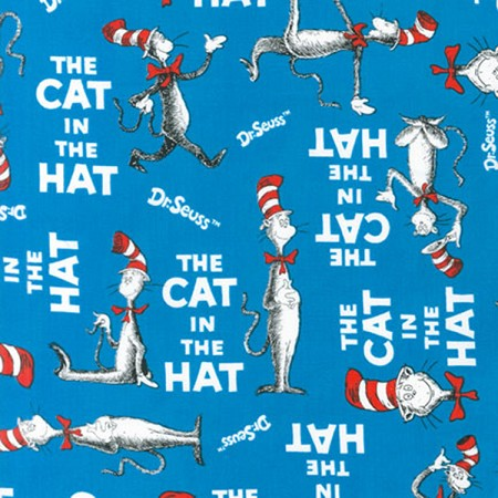 Fat Quarter - Celebrate Seuss! - The Cat in the Hat - Blue