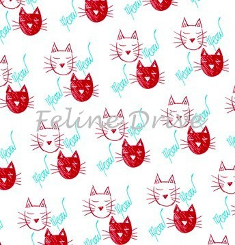 Fat Quarter - The Cat's Meow (Ink & Arrow) - Cat Faces - Red