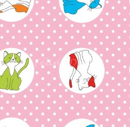 Fat Quarter - The Cat's Pyjamas - Happy Cats - Pink