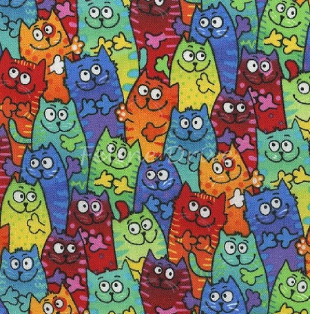 Fat Quarter - Tie Dyed Packed Cats