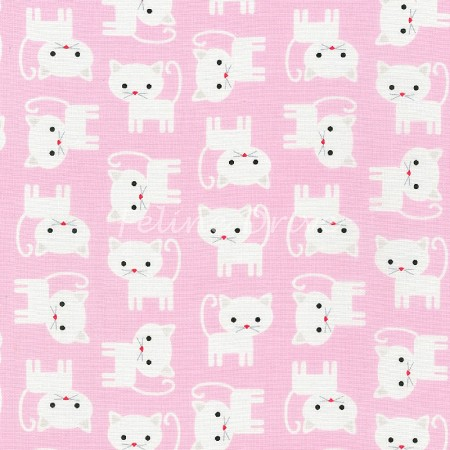 End of Bolt Piece - Urban Zoologie - Cats - White on Pink - 26""