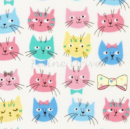Fat Quarter - Whiskers & Tails - Kitty Heads - Pastel