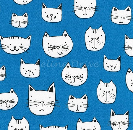 Fat Quarter - Whiskers & Tails - Kitty Heads - Blue