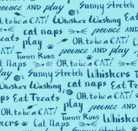 Fat Quarter - Whiskers & Tails - Cat Words - Blue