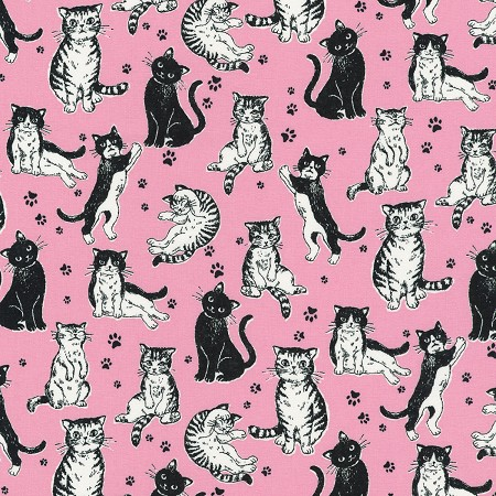 Whiskers & Tails - Black & White Cats on Pink