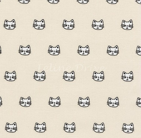 Fat Quarter - Whiskers & Tails - Tiny Cat Heads - Natural