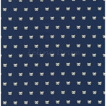 Whiskers & Tails - Tiny Cat Heads - Navy