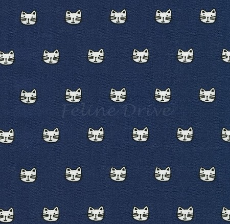 Fat Quarter - Whiskers & Tails - Tiny Cat Heads - Navy