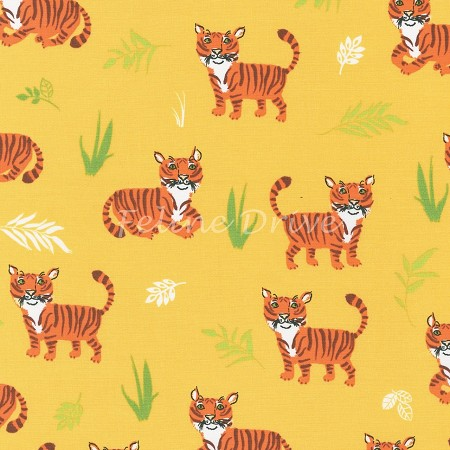 Fat Quarter - Wild Adventure - Tigers - Yellow